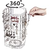 Cq acrylic 360 Degree Rotating Earring Holder,Jewelry Hanger Organizer and Acrylic Earring Screen Display Stand for Earrings Bracelets Necklaces