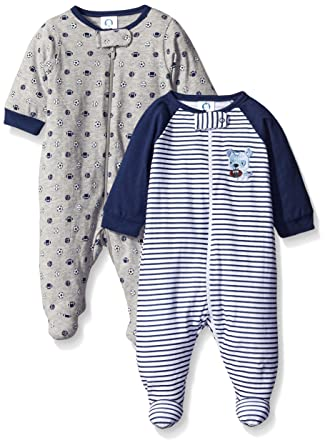 Gerber Baby Boys' 2 Pack Zip Front Sleep 'N Play, Team Sports, 3-6 Months