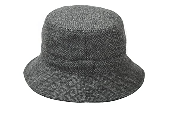 7190b14be9621 Image Unavailable. Image not available for. Colour  Men s Grey Wool Tweed  Outdoor Reversible Bucket Hat BL68