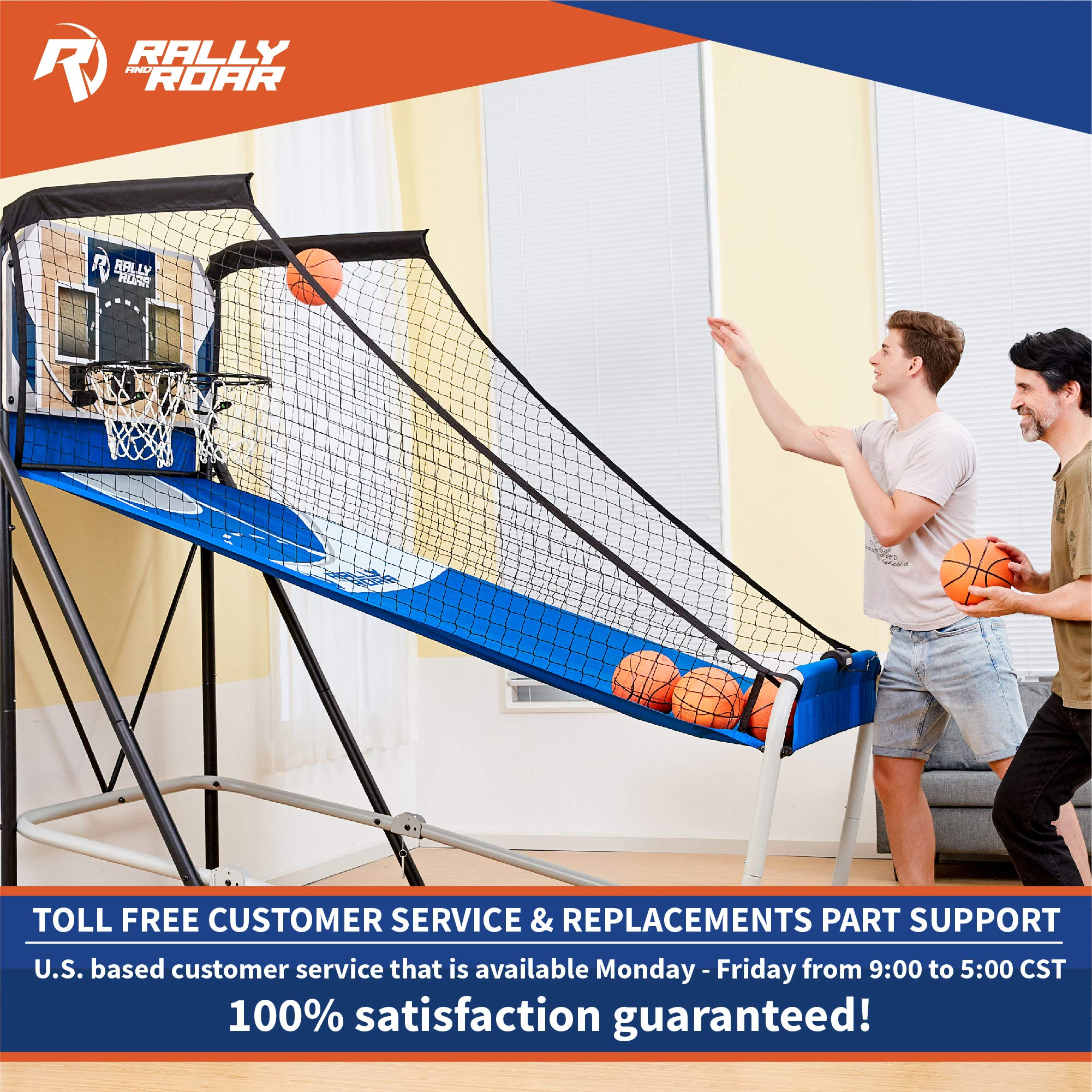 Premium Shootout Basketball Arcade Game, Home Dual Shot with LED Lights and Scorer - 8-Option Interactive Indoor Basketball Hoop Game with Double Hoops, 7 Basketballs, Pump - Foldable Space Saver by Rally and Roar (Image #7)