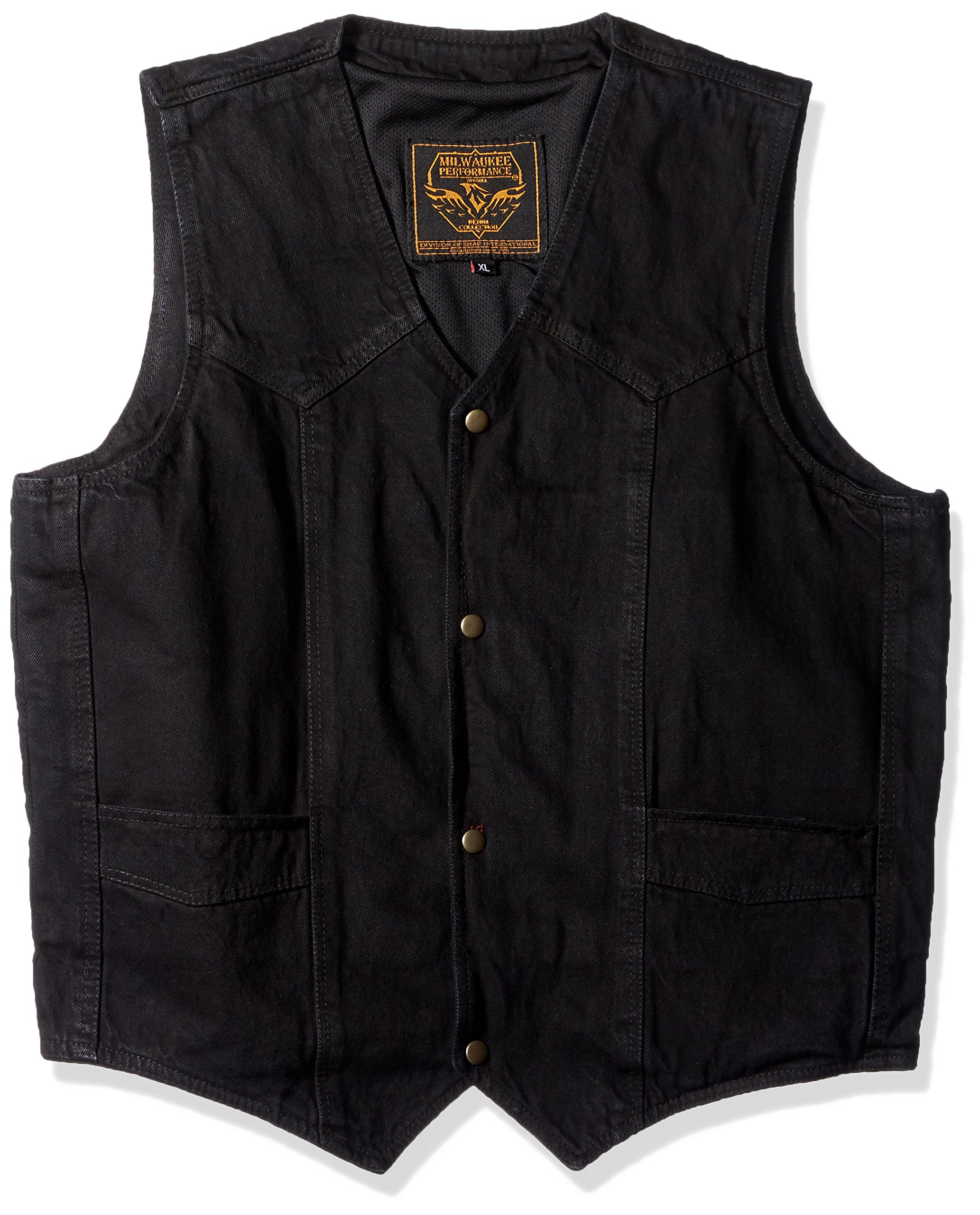 Milwaukee Performance Men's Plain Side Basic Denim Vest (Black, X-Large)