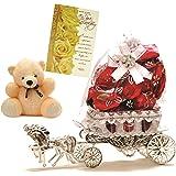 Skylofts Horse Chocolate Gift With A Soft Teddy & Birthday Card - 10 Pcs