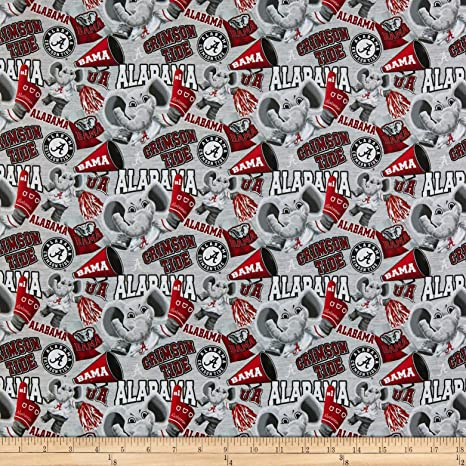 Sykel Enterprises NCAA Cotton Broadcloth Alabama Collegiate Mascot Fabric, Team Color, Fabric By The Yard