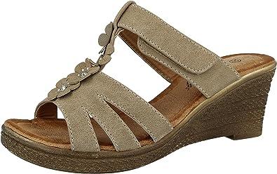 Apakowa Ladies//Womens Open Toe Buckle Strap Mid Wedge Heeled Mules Sandals Size 3-7.5