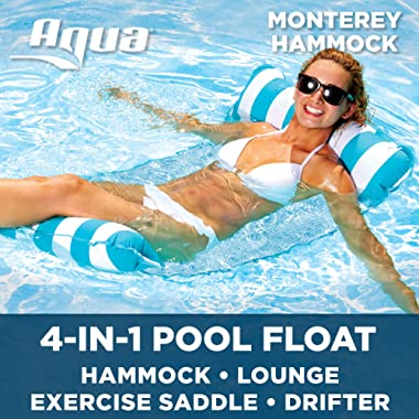 Aqua Monterey 4-in-1 Multi-Purpose Inflatable Hammock (Saddle, Lounge Chair, Hammock, Drifter) Portable Pool Float, Light Blue/White Stripe