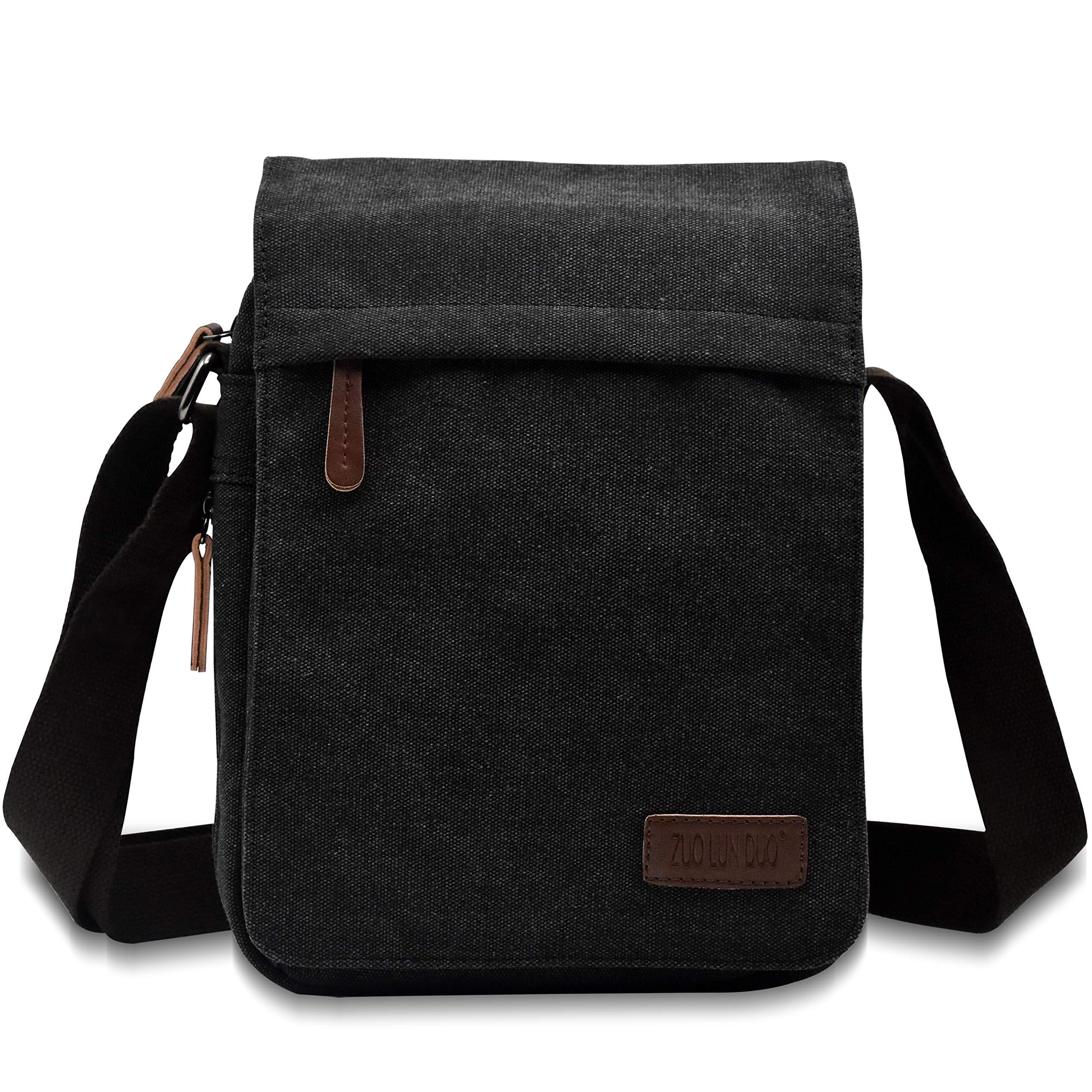 Unisex Multifunctional Canvas Messenger Bag Crossbody Shoulder Bag Travel Bag, Small, Black