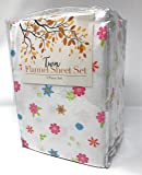 Pink Flowers Extra Soft 100% Cotton Flannel Twin Sheet Set