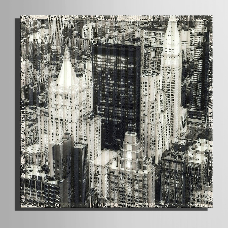 LTQ&QING new-Leinwand-Kunst Grau-Stadt-Bau-Dekoration-Malerei, Frameless Malerei, 60601