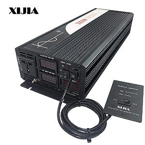 XIJIA 3000W (Peak 6000W) Pure Sine Wave Power Inverter DC 12V 24V 48V to AC 120V 60HZ Solar Converter for Home Use car Remote Control (DC 48V to AC 120V)