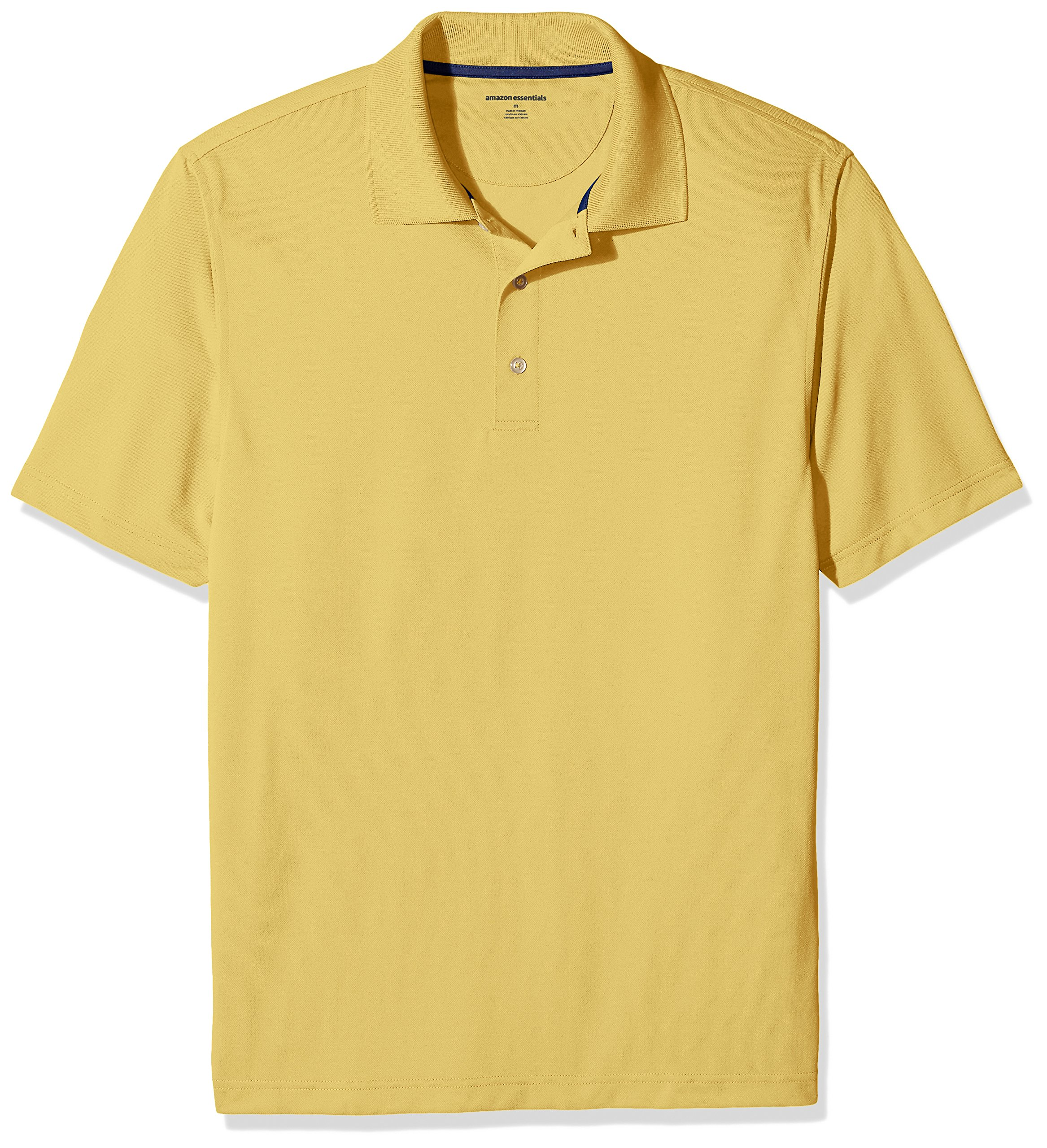 Amazon Essentials Men's Regular-Fit Quick-Dry Golf Polo Shirt, Yellow, Large by Amazon Essentials