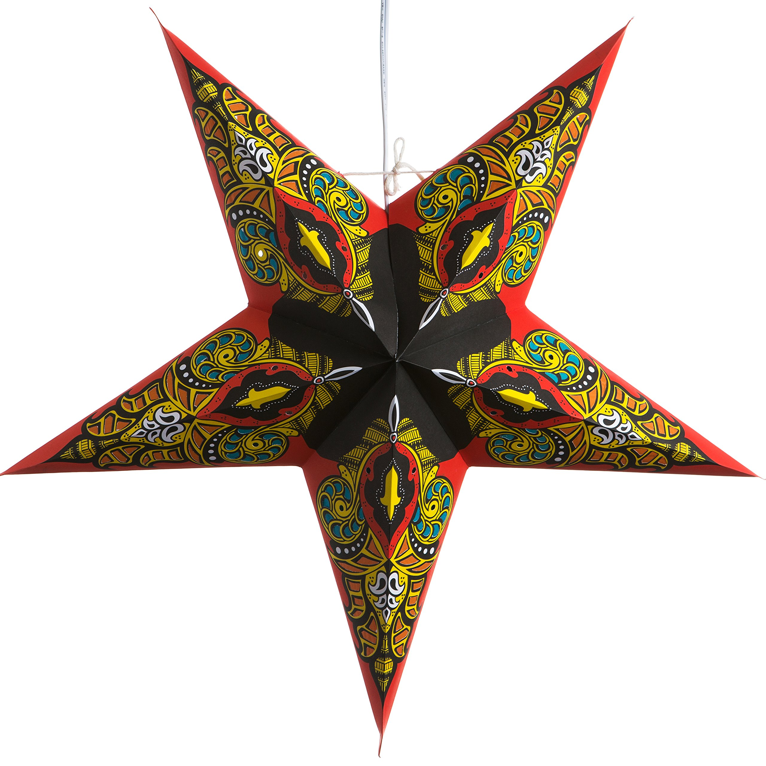 Red Mango Paper Star Lantern with 12 Foot Power Cord Included