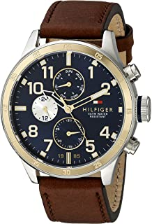 5deebf7a90 Tommy Hilfiger Men's 1791137 Cool Sport Two-Tone Stainless Steel Watch with Leather  Band