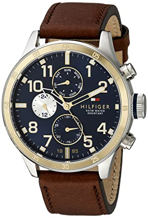 c4cf14e4c Amazon.com: Tommy Hilfiger Men's 1791137 Cool Sport Two-Tone Stainless  Steel Watch with Leather Band: Tommy Hilfiger: Watches