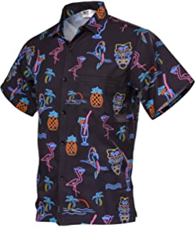 7177d9fde Funny Guy Mugs Men's Nostalgic Neon Hawaiian Print Button Down Short Sleeve  Shirt