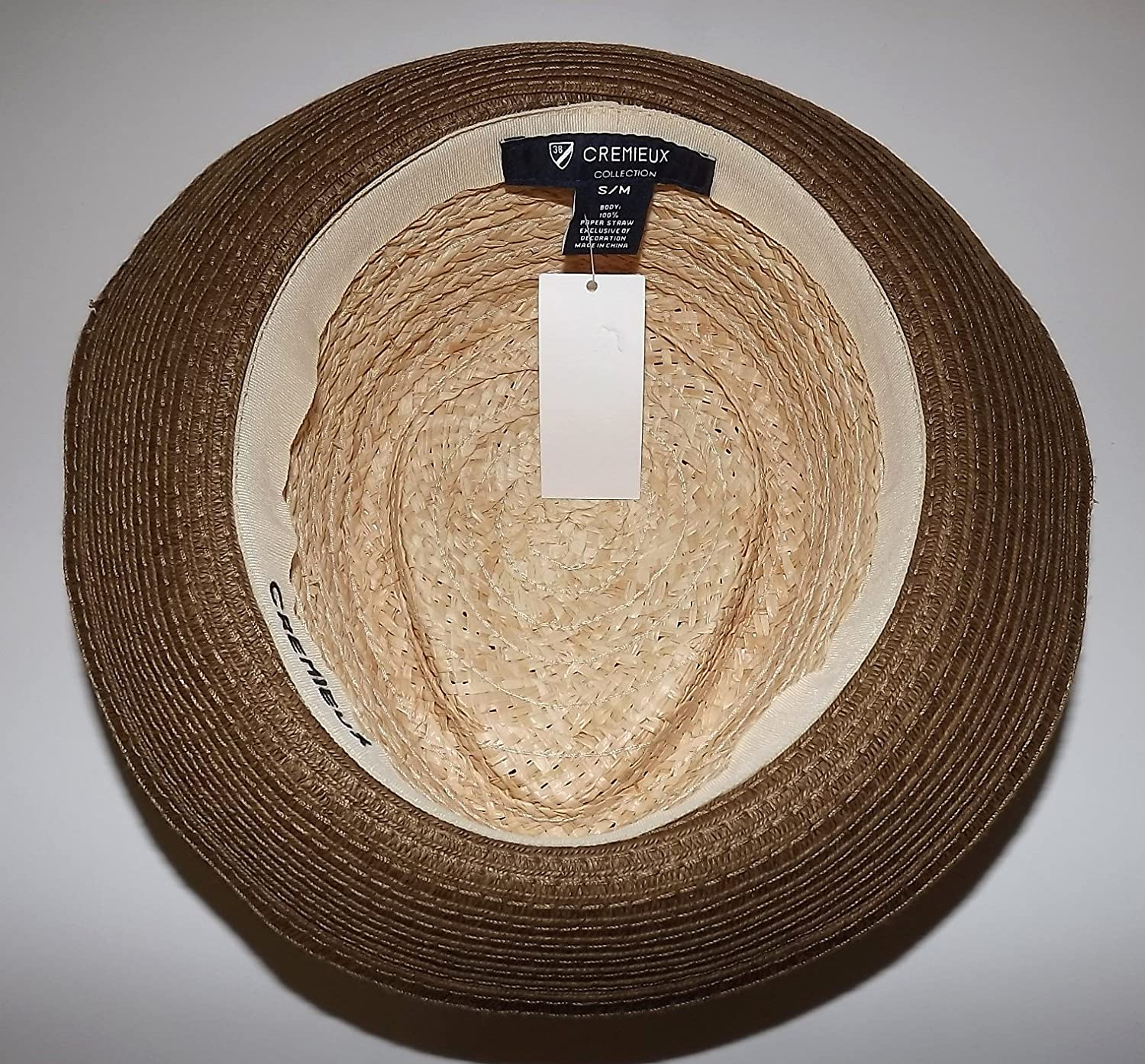 d945d1ed897 Daniel Cremieux Men s Straw Fedora Hat Natural with Red Diamond Band Small Med  at Amazon Men s Clothing store