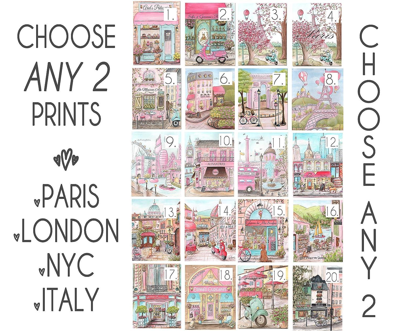 Pink Nursery Travel Theme, Set Of 2 Unframed Fine Art Prints, Paris,  London, Italy, New York, Personalized Teen Girls Name Bedroom Decor, 6  Sizes 5x7\