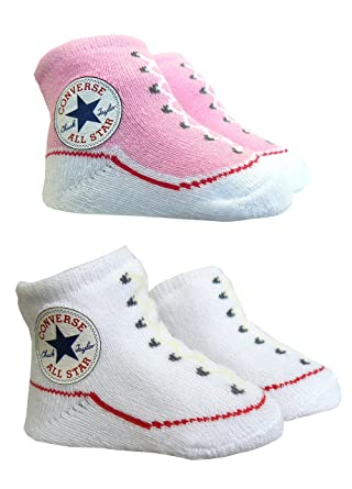 fc3abeacd1c0 Converse Baby Booties Socks - Pink   White  Amazon.co.uk  Clothing