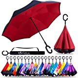 ZOTIA Double Layer Inverted Reverse Umbrella, Windproof Waterproof UV Protection Self Stand Upside Down Car Golf Outdoor Rain