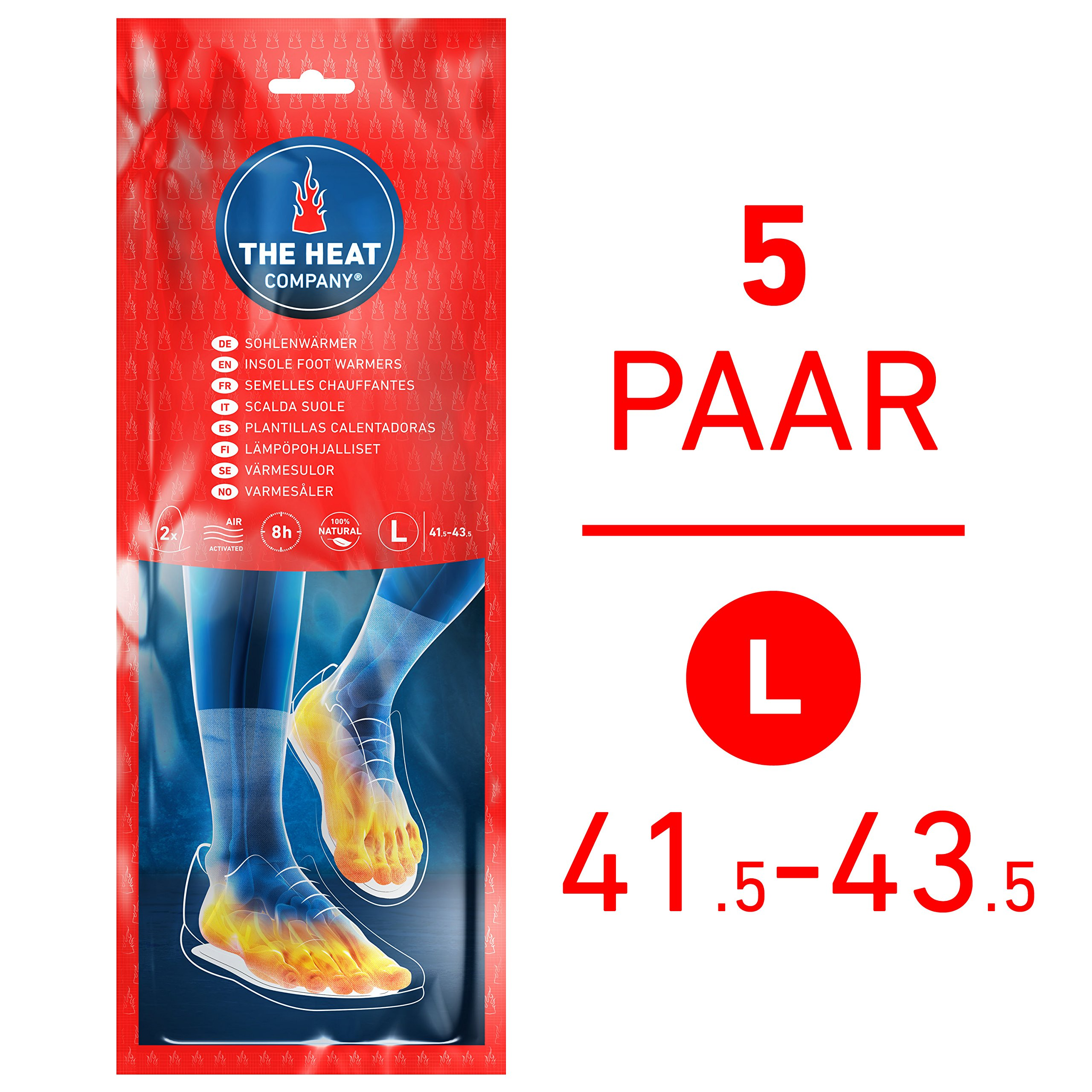 The HEAT company Insole Foot Warmers EXTRA WARM Air Activated MEDIUM Size: 5.5-7 100/% Natural 8 Hours of Warmth 5 or 30 Pairs Instant Heat