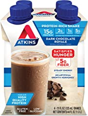 Atkins Dark Chocolate Royale Protein-Rich Shake. Rich and Creamy with Protein. Keto-Friendly and Gluten Free. (4 Shakes)