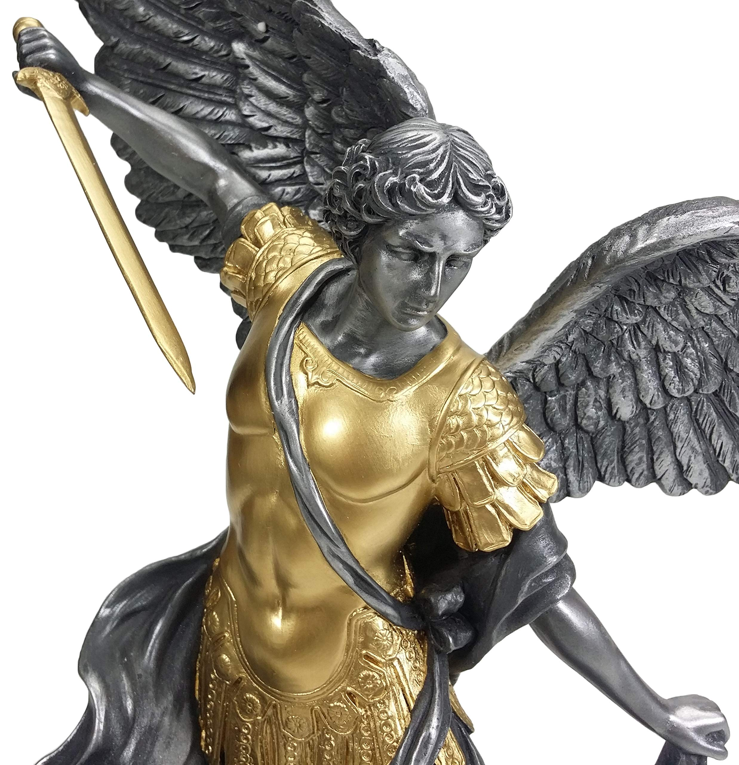 14 1/2 inch pewter and gold Archangel Saint Michael tramples Demon statue sculpture by VERONESE