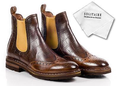 newest 5a81f 85be9 CALPIERRE Italienische Leder Chelsea Boots Budapester, Braun ...
