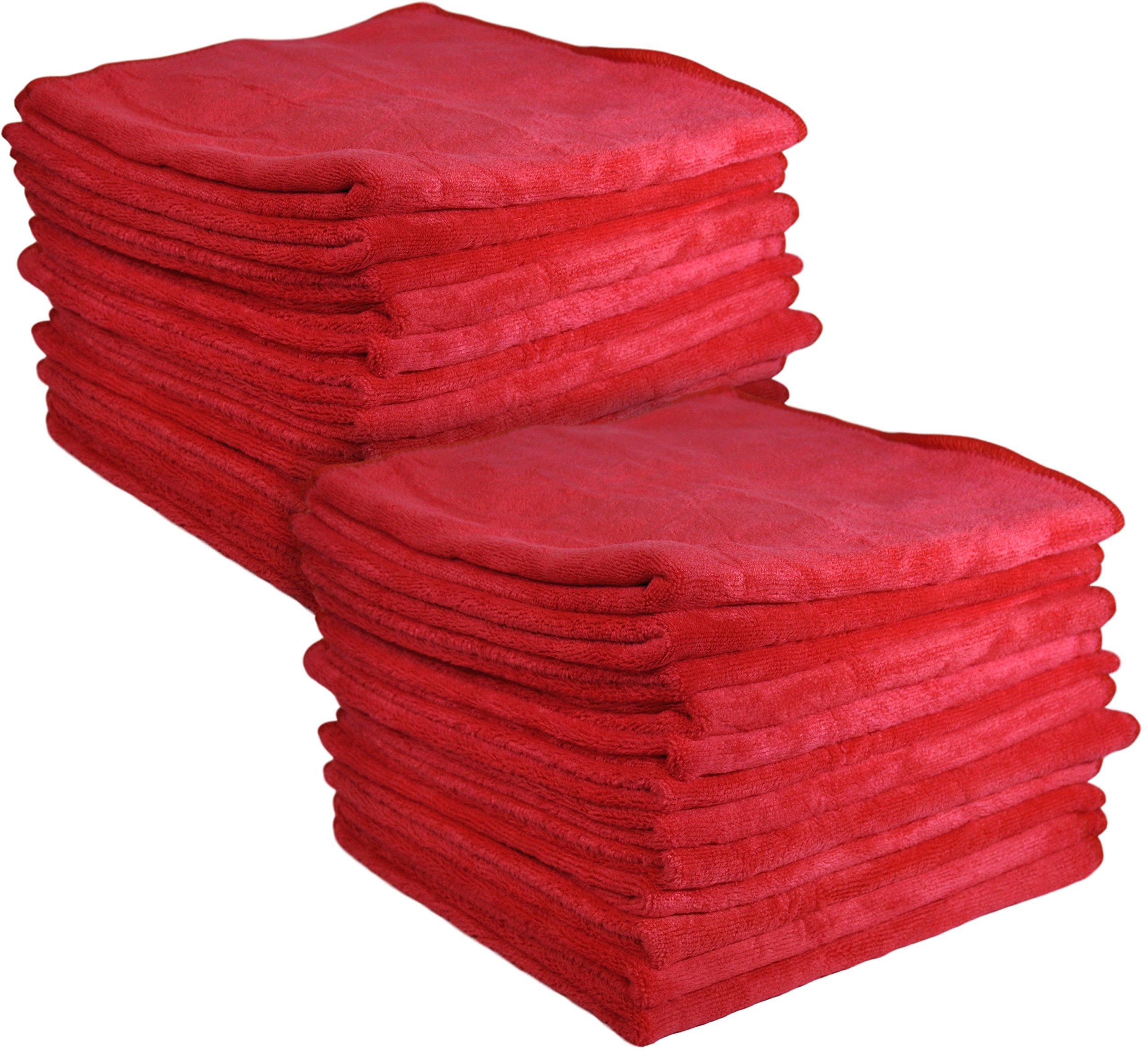 Detailer 365 UItraplush Premium Microfiber Towel (24 Pack, Red)