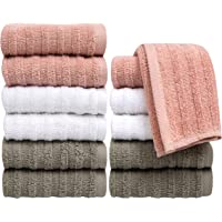 """Pleasant Home Washcloths Set - 12 Pack (12"""" x 12"""") – 488 GSM- 100% Ring Spun Cotton Wash Cloth - Super Soft and Highly Absorbent Face Towels (Blush Combo, Striped Design)"""