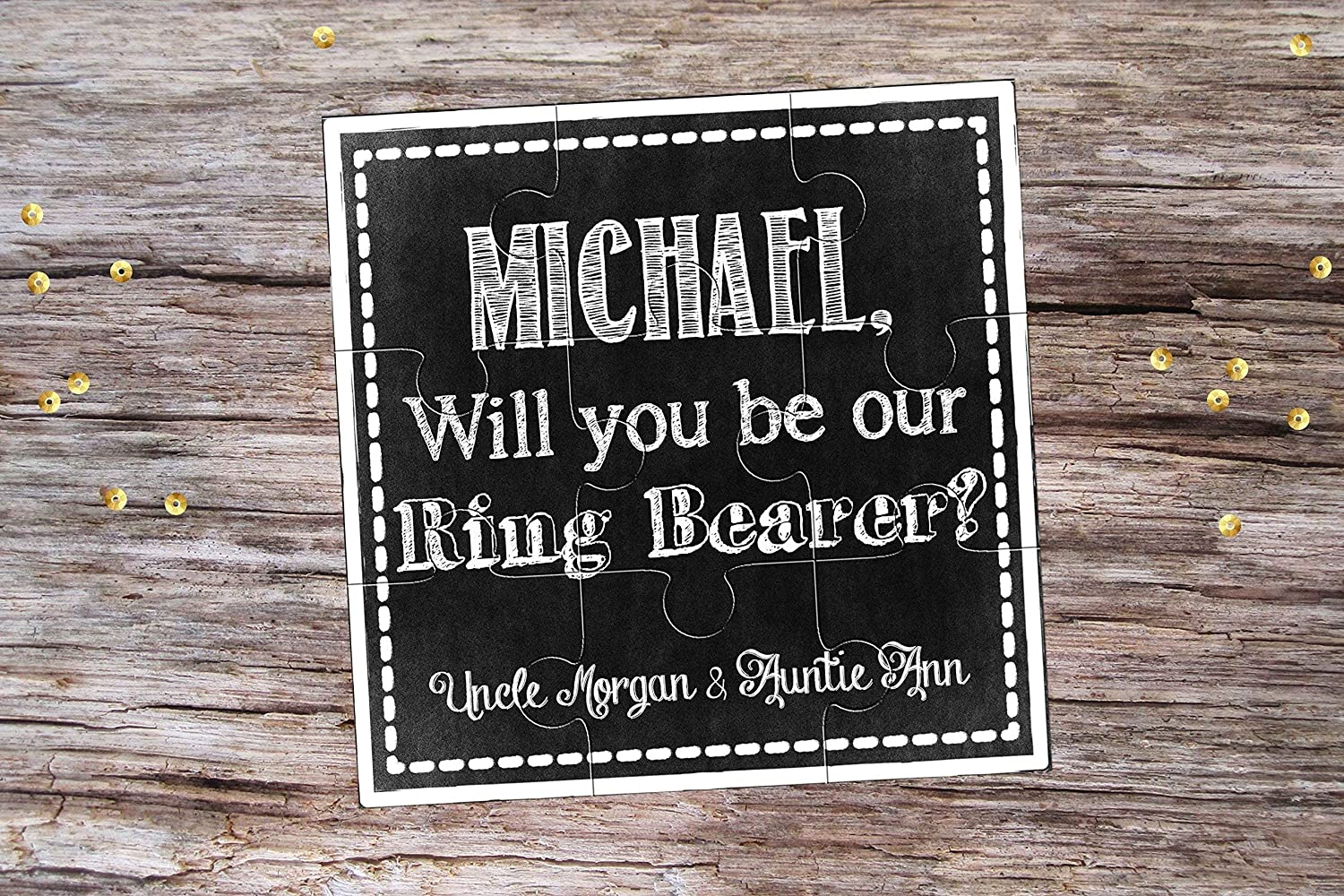 Will You Be My Page Boy Chalkboard Personalized Ring Bearer Puzzle Invitation Will You Be My Usher Proposal Will You Be My Groomsman Gift