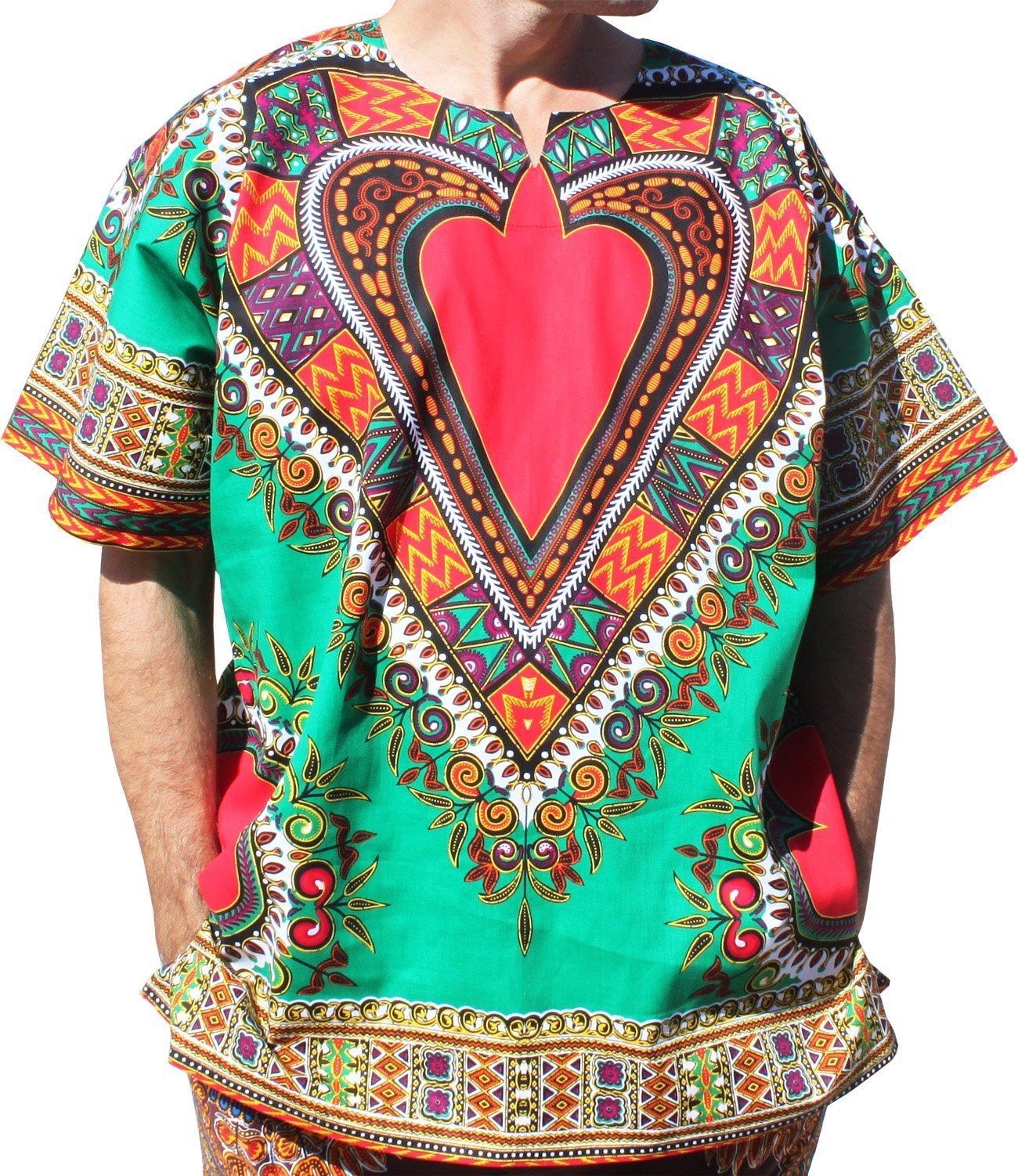 RaanPahMuang Bright Heart Cotton Africa Dashiki Plus Sized Shirt Plain Front, XXXXXX-Large, Green by RaanPahMuang