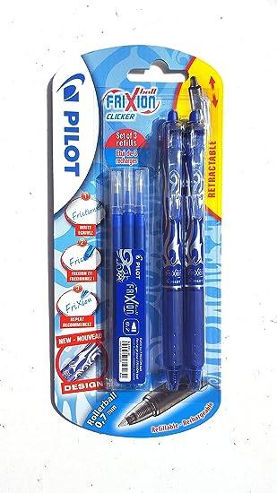 3 x Pilot FriXion CLICKER 07 TATTOO design Erasable Retractable Pens Light Blue