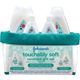 Johnson's Touchably Soft Newborn Baby Gift Set, Baby Bath & Skincare for Sensitive Skin, 5 items