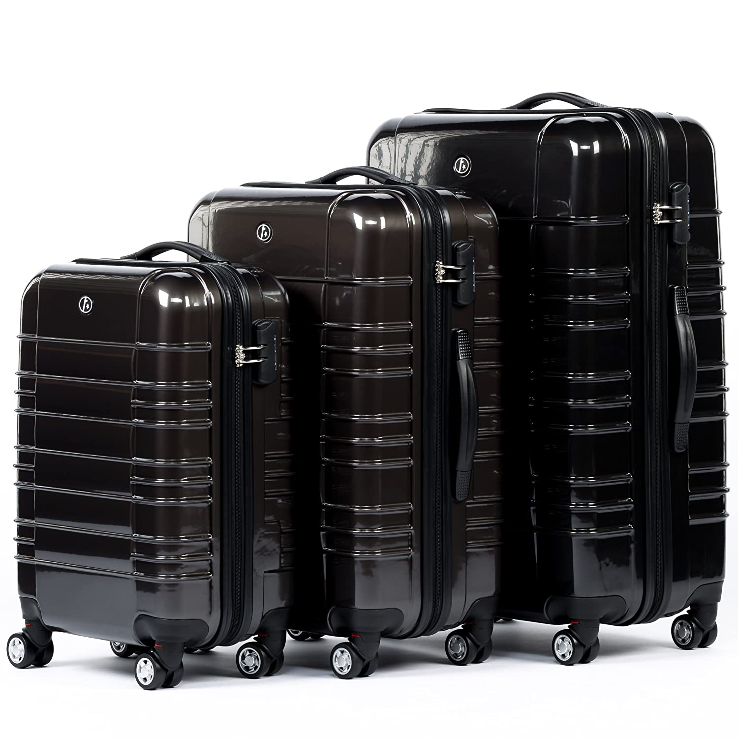 21e29ede4c FERGÉ luggage set 3 piece hard shell trolley NICE suitcase set 4 twin  spinner wheels grey