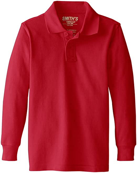 02bf73089 Smith's American Little Boys' Long Sleeve Polo, Red, XX-Small ...