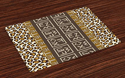 Superbe Lunarable Tribal Place Mats Set Of 4, African Safari Leopard Motif With  Abstract Folk And