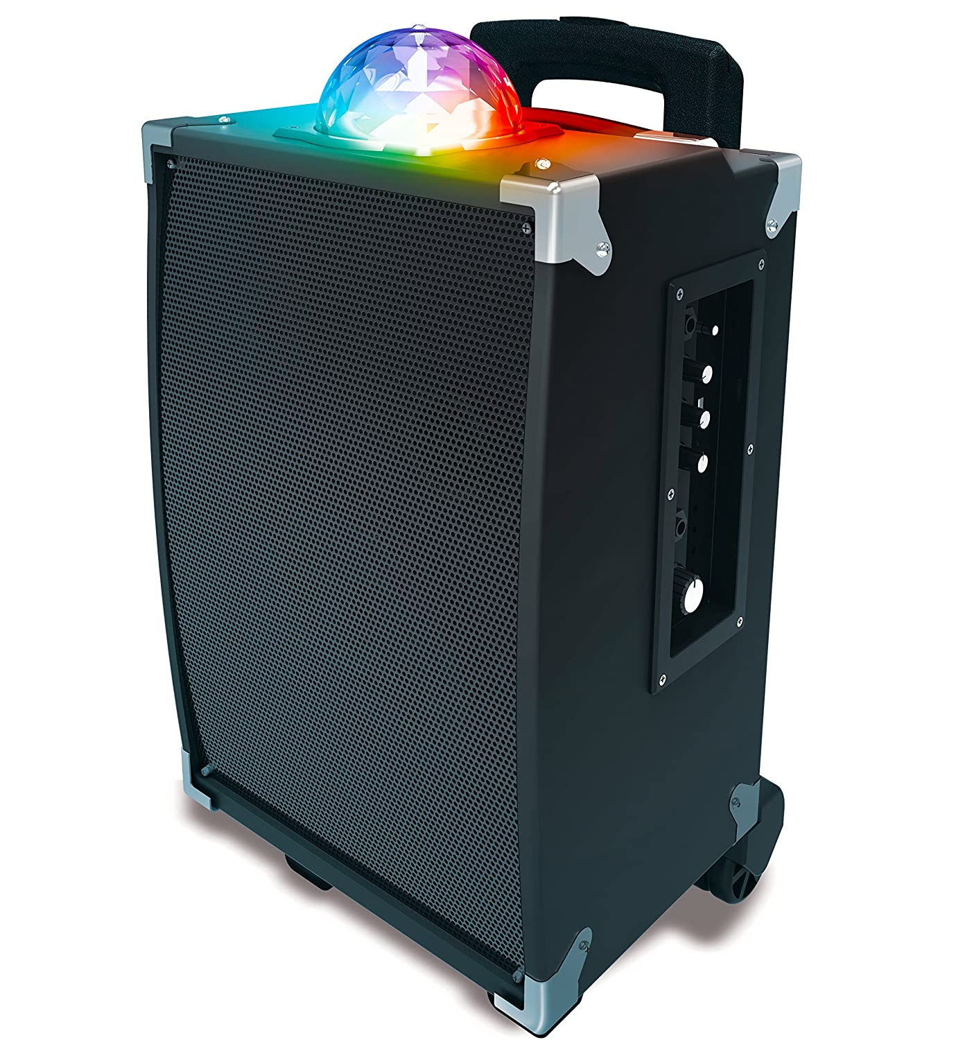 Sharper Image SBT1009BK On-The-Go Bluetooth Party Speaker With Disco Ball Light