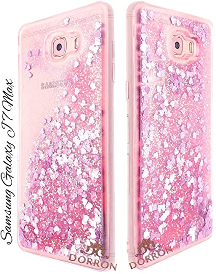 best deals on 08393 bdc94 DORRON Glitter Bling Designer Transparent Liquid Waterfall Soft Fancy Back  Phone Case Cover for Samsung Galaxy J7 Max (Pink_Floating Love Heart)