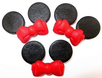 Minnie-Maus-Set essbare Kuchendekoration mit roten Schleifen, Dekoration  aus Zuckerpaste
