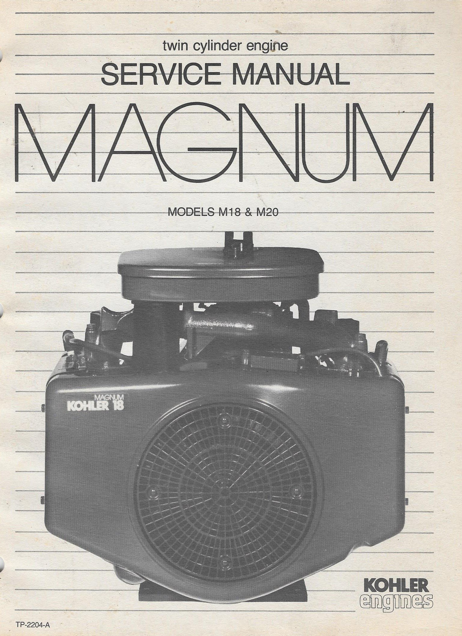 Twin Service Manual Magnum Models M18 & M20: Kohler Engines: Amazon.com:  Books