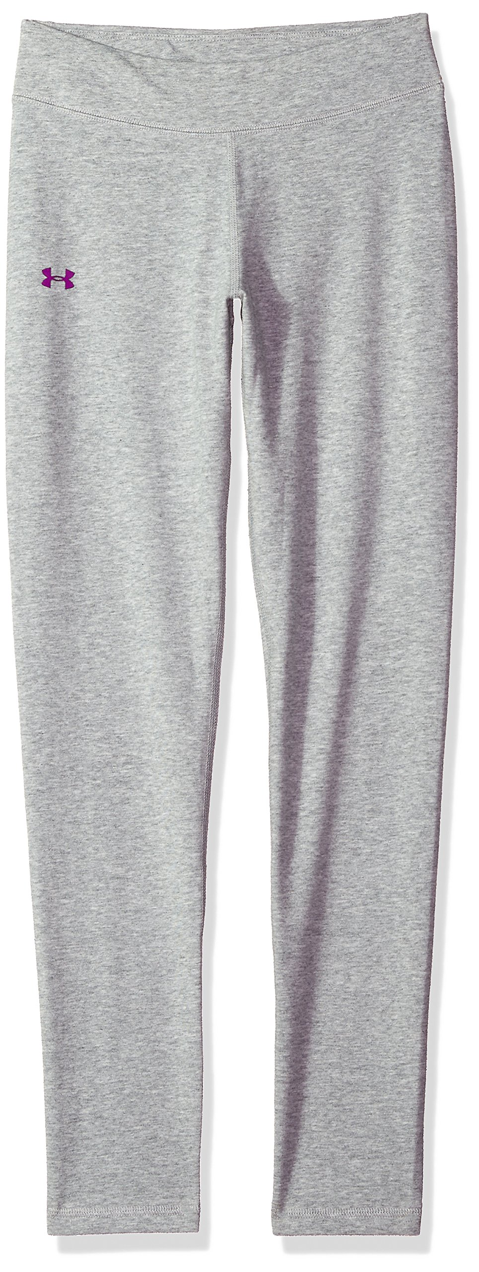 Under Armour Girls Favorite Knit Leggings, True Gray Heather (025)/Purple Rave, Youth X-Large by Under Armour