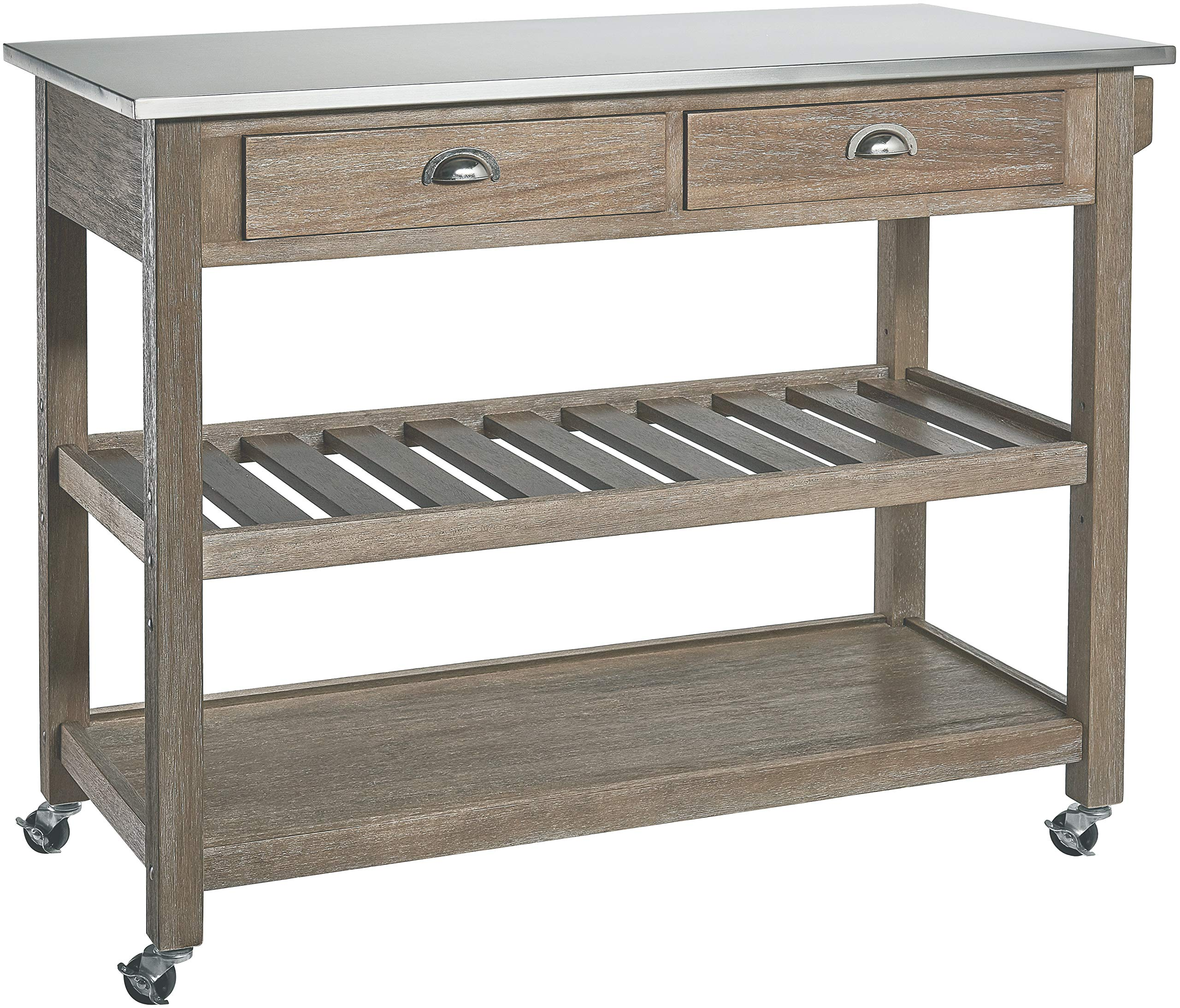 Ball & Cast Solano 2Drawer Wire-Brush Rubberwood Kitchen Cart with Stainless-Steel Top, Grey