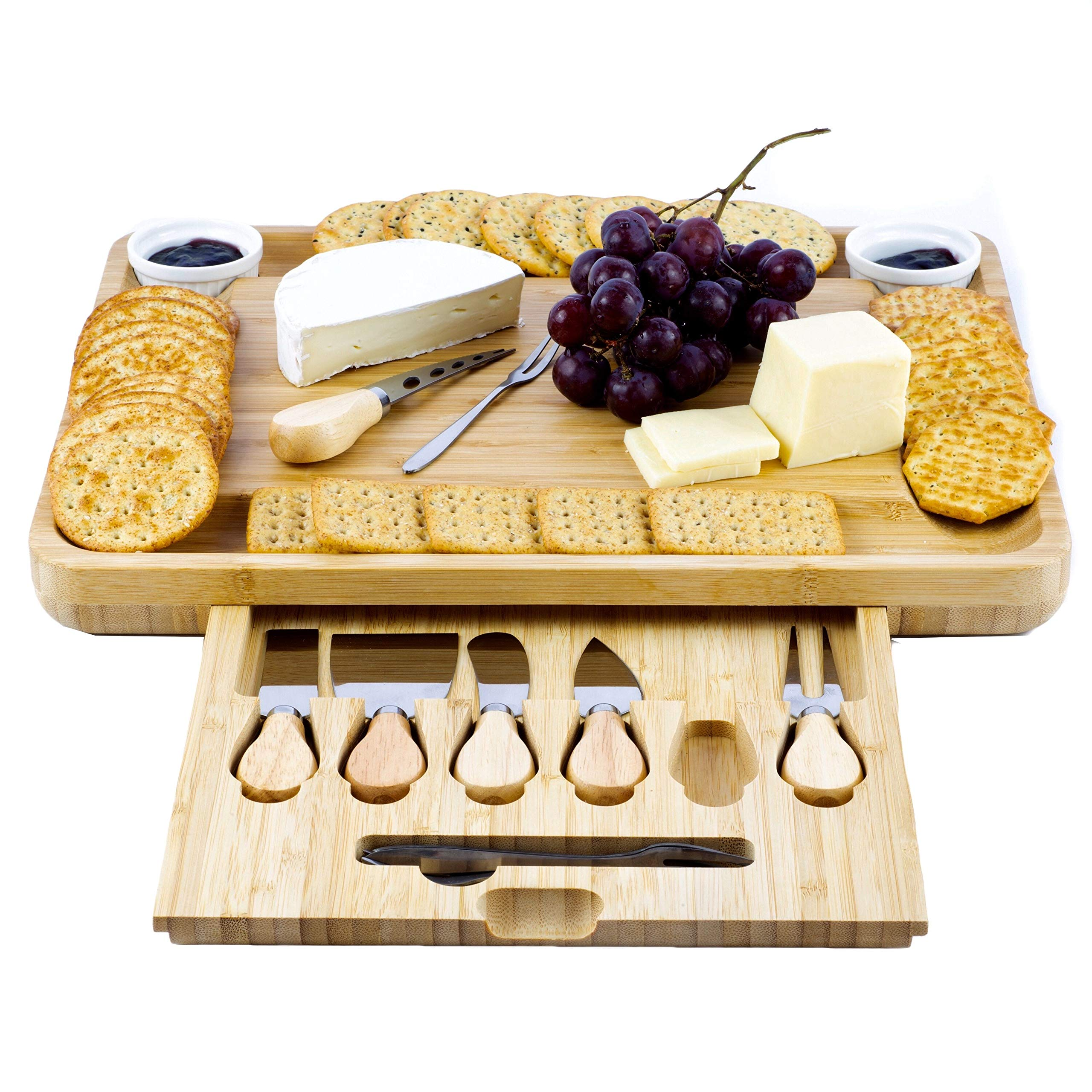 BeamShops XL Cheese Board And Knife Set - Natural Bamboo Charcuterie Board - Excellent Cheese Tray - Large Wooden Cheeseboard With 6 x Knives, 4 x Forks - Wedding And House Warming Presents by BeamShops (Image #1)