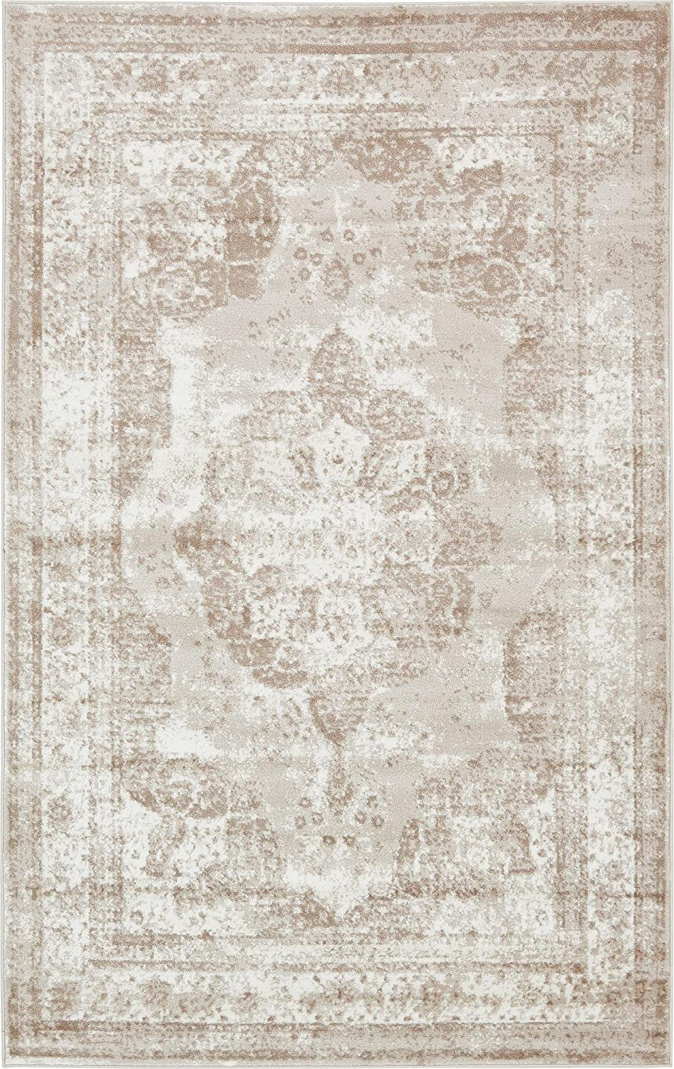 Unique Loom 3134074 Area Rug, 5' x 8' Rectangle, Beige