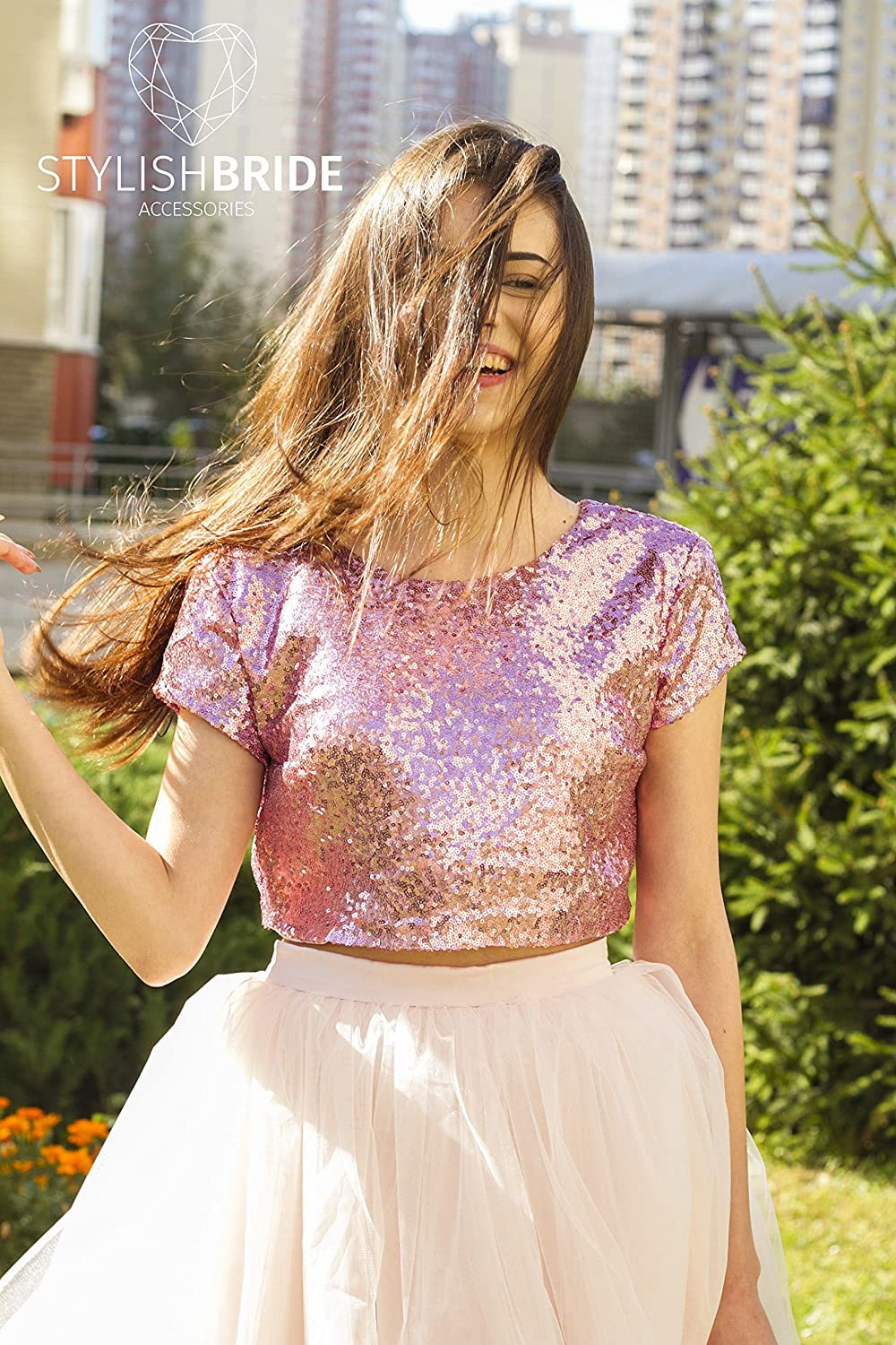 be890d0b80 Amazon.com  10 colors Gold Silver Pink Blush Rose Gold Sequin top ...