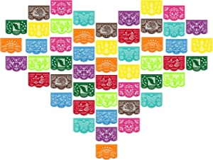 CLOVER CUTS, 50 Multi-Colored Felt Papel Picado Banners, Día de Los Muertos Decor, Doilies and Decorative Placemat Multi-Purpose, The Day of The Dead and Halloween Inspired Customized Designs