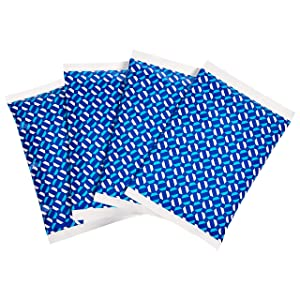 """AmazonBasics Reusable Flexible Soft Sided Ice Pack, 6.7"""" X 4.3"""", Blue, Pack of 4"""