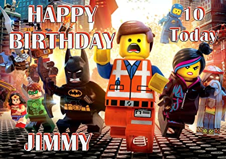 The Lego Movie Emmet Lucy Birthday Card Customized With Your Name