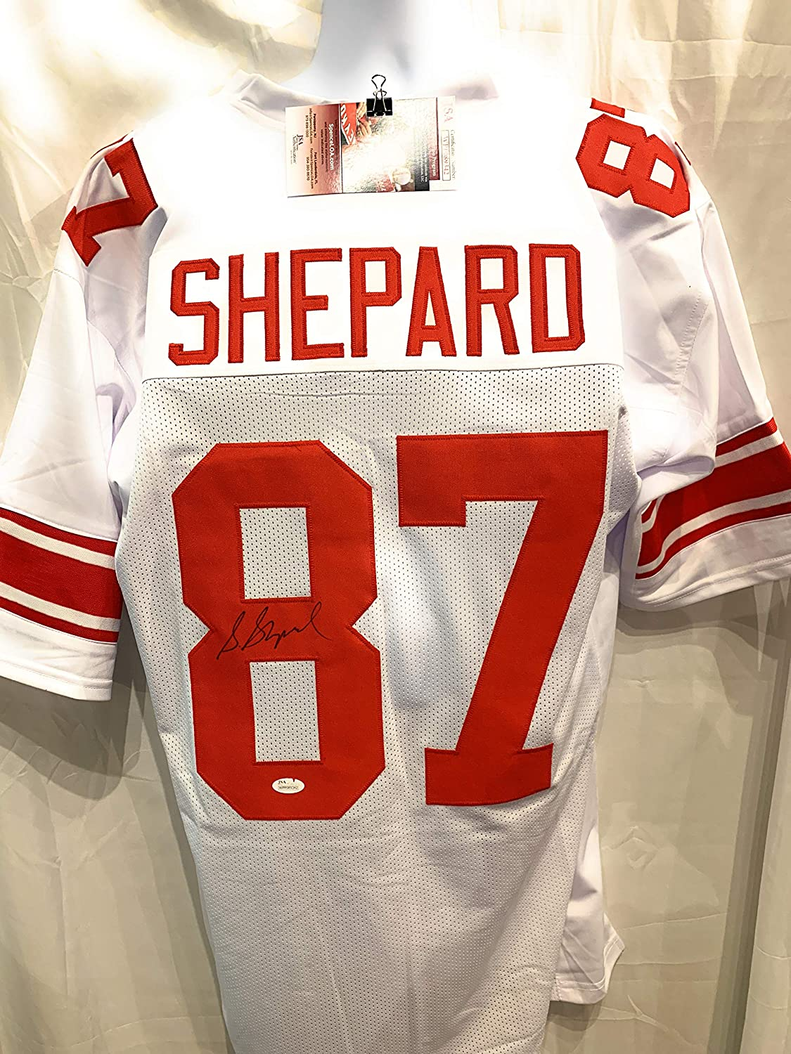 Sterling Shepard New York Giants Signed Autograph White Custom Jersey Red #'s JSA Certified