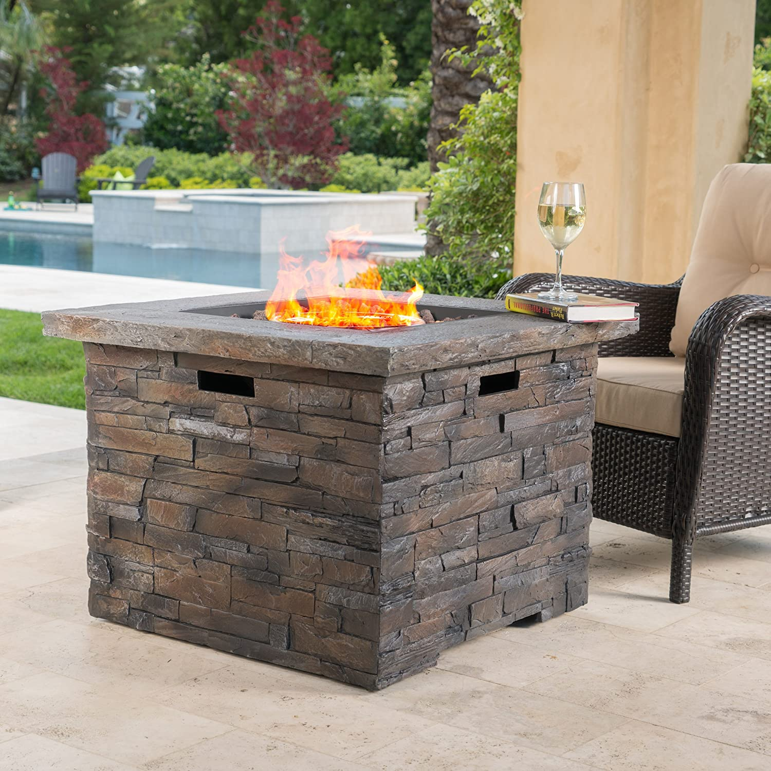 Stonecrest Outdoor Propane Square Fire Pit in Grey Stone