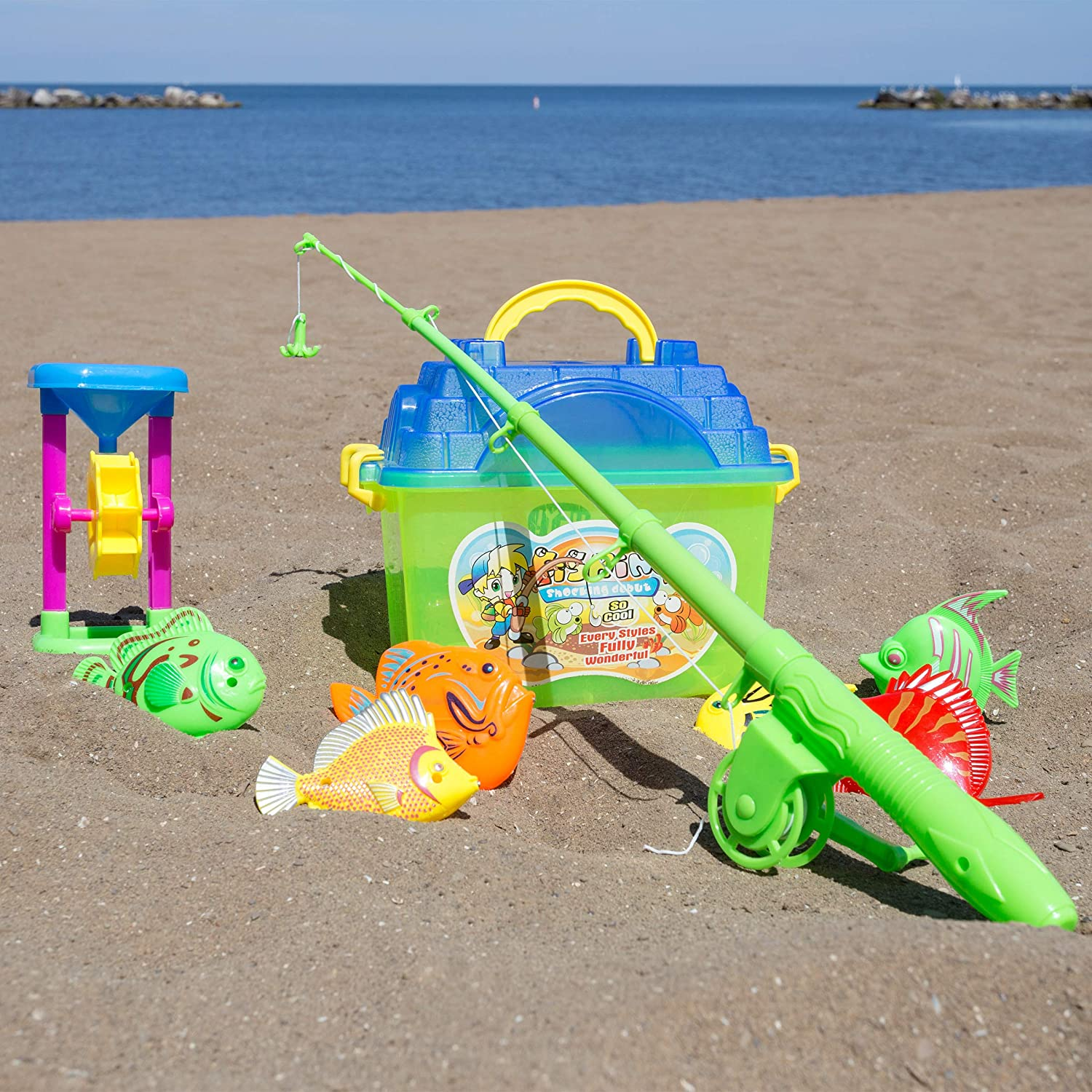 Hey Play 80 TK044489 Kids Toy Fishing Set with Magnetic Fishing Pole and Reel 6 Fish Sand Wheel and Tackle Box Fun Pretend Play Toys for Boys and Girls